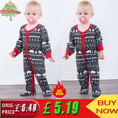 ✨ Baby Toddler Boy Girl Long Sleeve Romper Jumpsuit Xmas Party Outfit Clothes UK