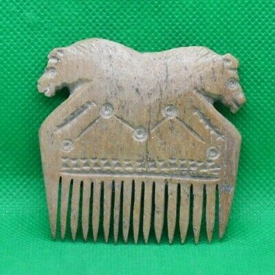 Ancient Roman (Possibly Viking) Bone Comb With Two Horse Heads - 400/800 Ad