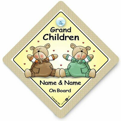 GRANDCHILDREN On Board Suction Cup Car Sign, PERSONALISED Baby On Board Sign,