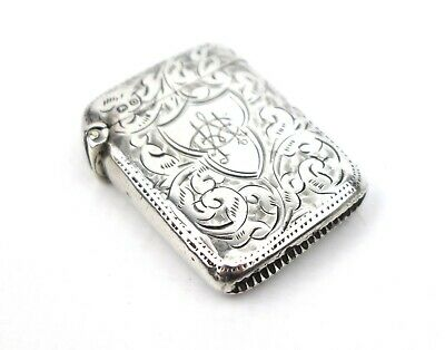 Antique Victorian Sterling Silver Vesta Case Miniature Leaf Spray Chester 1897