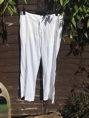 "Ladies Size 44"" Zara White Linen Trousers - Fab For Summer!"