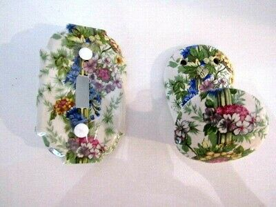 Flower Ceramic Single Switch Plate Cover & Matching Towel Hook