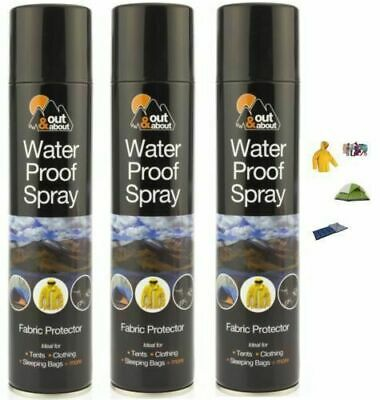 3 x Waterproof Spray Fabric Protector Ideal For Tent Cloth Shoes Camping Fishing