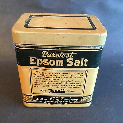 Vintage Puretest Epsom Salt The Rexall Store Tin United Drug Company