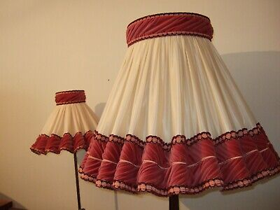 Gorgeous Vintage fluted Cream/ Dark Rose Standard Lamp shade and Side Shade