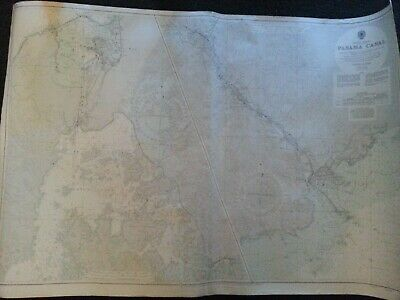 Antique Map Panama Canal Central America 1957 Admiralty Map Chart Usa Government