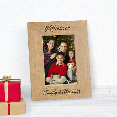 Personalised Engraved Family Christmas Wood Frame 6x4 Gift