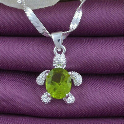 Women Fashion Jewelry Silver Chain Zircon Crystal Turtle Pendant Necklace Gift