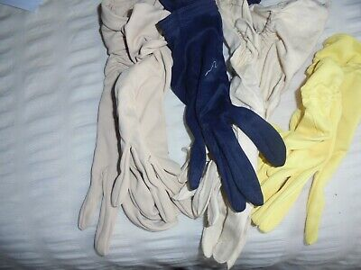 Vintage 50s 1960s Ladies Gloves  4 pairs Nylon gloves various Length small app 7