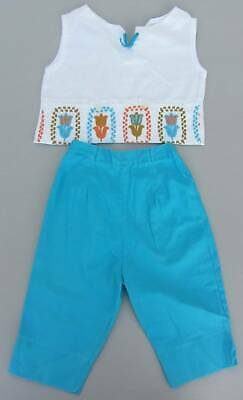 Vintage 50's cotton turquoise pedal pushers & white crop top