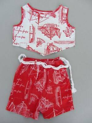 50's cotton boy girl top & shorts summer nautical boats age 5