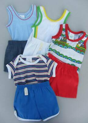 Vintage boys vest tops and shorts new 60's 9 months to 2 years