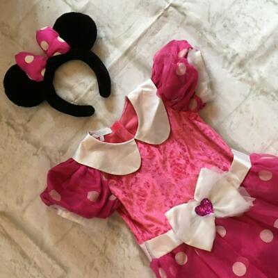 Disney Store Girls Minnie Mouse Ears Costume Fancy Dress Outfit Baby Age 5 - 6