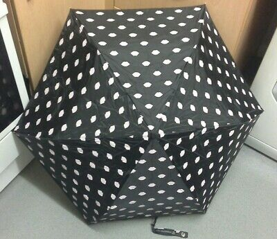 Lulu Guinness Folding Handbag Umbrella Black with Pink Lips Motif plus Cover