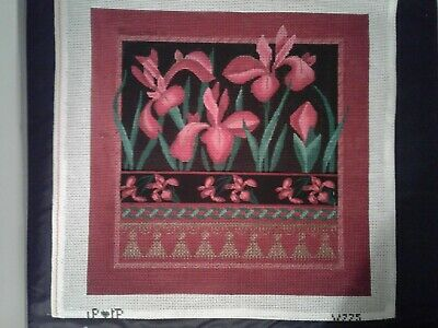 "Hand Painted Needlepoint Canvas by LP loves IP, 10 mesh canvas, 19 by 19"" square"