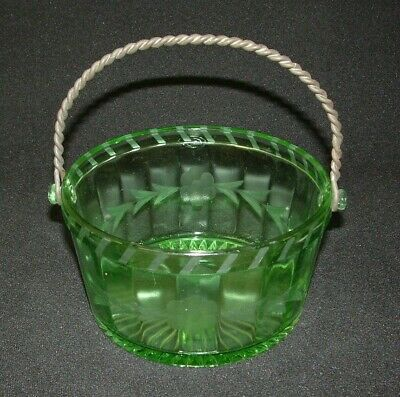Vintage Green Depression Glass Basket / Bowl - Etched with wire handle