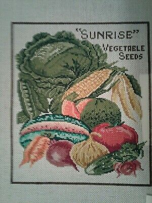 Hand Painted Needlepoint, 14 stitch, Sunrise Vegetable Seeds