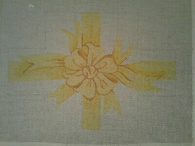 Hand Painted Needlepoint Canvas, Cover your Brick, 18 stitch, Yellow Bow