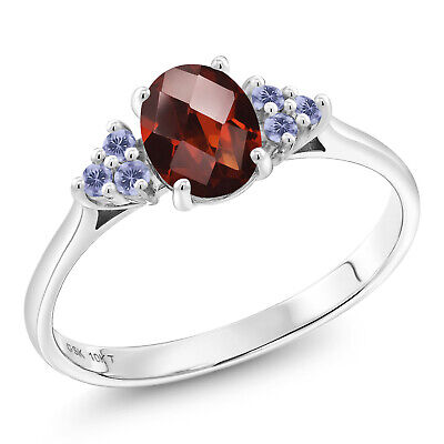 1.12 Ct Oval Checkerboard Red Garnet Blue Iolite 10K White Gold Ring