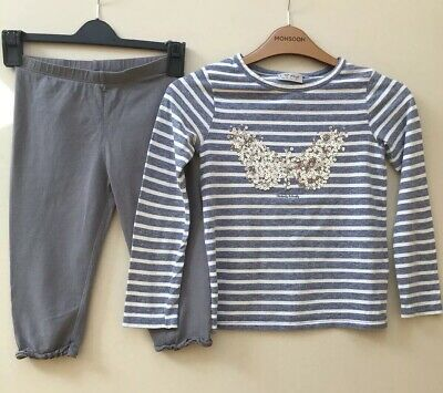 Next Girls Striped Top And Lupilu Cropped Leggings Aged 6 Years