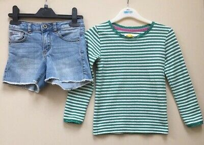 Mini Boden Girls Top And Zara Denim Shorts Aged 5-6 Years