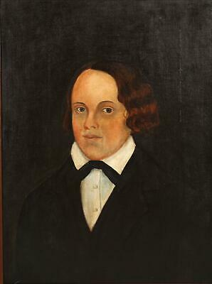 19thC Signed Antique American Folk Art Portrait Oil Painting, Maryland Young Man