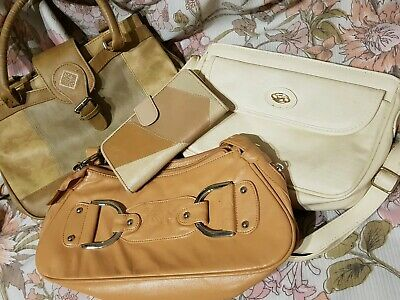 Job Lot Handbags Leather and Faux Leather Purse White Cream Tan Patchwork