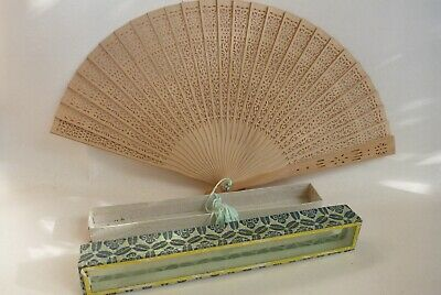 Asian Oriental Handheld Foldable Wood Hand Fan Small with Box