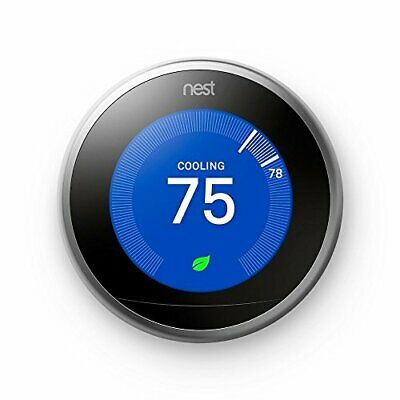 Nest Learning Thermostat, Easy Temperature Control, Stainless Steel 3RD Generati