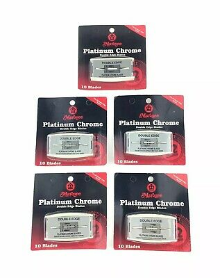 "LOT of 5 NOS ""Marquee"" 10-Pack Platinum Chrome Double Edge Razor Blades (U.S.A.)"