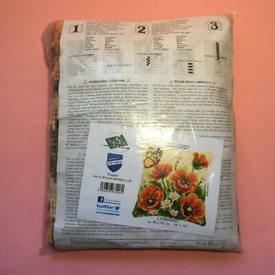 Vervaco Cushion Kit Poppies Flowers Tapestry Chunky Cross Stitch Canvas Yarn Kit