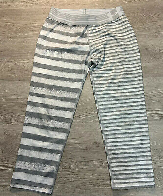 Under Armour Heat Gear Girl's Athletic Leggings Youth Large Gray & White Striped