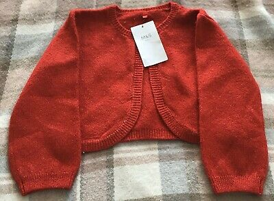 Marks & Spencer Red beaded Girls Cardigan Aged 6 - 7 yrs  NEW WITH TAGS