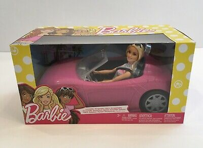 Brand New Mattel Barbie AND Pink Glam Convertible Car Rolling Wheels