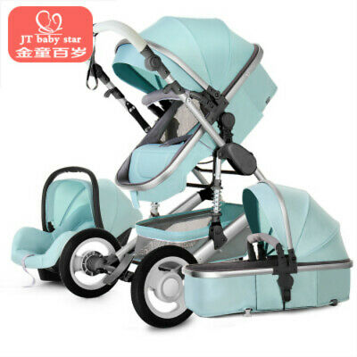 NEW3 In 1 Luxury Foldable Baby Stroller High View Pram Shock-absorption&Car Seat
