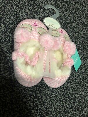 Adorable Monsoon Girls Faux Fur Slippers. Pink Colour. Size 18-24 Months.