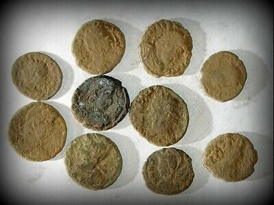 10 ANCIENT ROMAN COINS AE3 - Uncleaned and As Found! - Unique Lot 31410