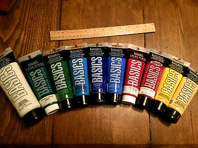 Lot of 10~Liquitex 4 oz/8 oz tubes~BASICS ACRYLIC Artist Paint~most w/ light use