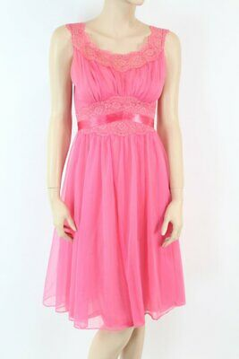 Vtg Vanity Fair Nightgown Goddess fitted double nylon chiffon Bright Pink 32 XS