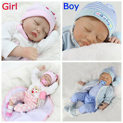 22'' Lifelike Twins Reborn Baby Dolls Boy+Girl Vinyl Silicone Newborn Doll Gifts