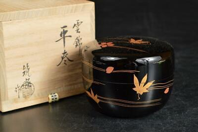 A846: Japanese Wooden Lacquer ware TEA CADDY Natsume, auto w/signed box