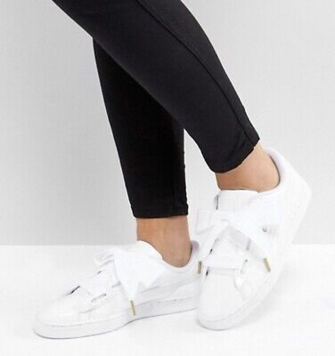 Puma Womens Basket Heart Patent Leather Sneakers