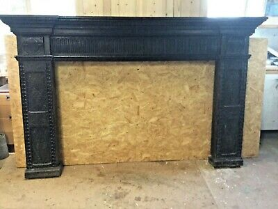 Antique Victorian hand carved oak fire surround