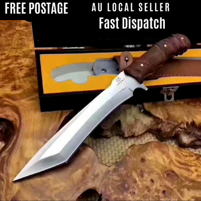 FOX Fixed Blade Knife Large Bowie Camping Hunting Survival Pocket Knife