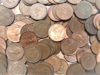 Bulk Lot Australian Half Pennies 80x King George VI & Queen Elizabeth II Mixed