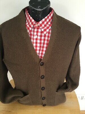 Relco Mens Retro 60s Checkered Button Knit Cardigan Black//White 2XL