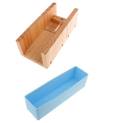 Wood Handmade Soap Cutter Box +Silicone Soap Roses Loaf Cake Baking DIY Mold