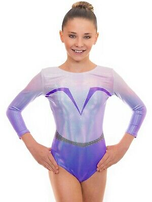 Deluxe Force Girls Long Sleeved Gym Lycra Show Sleeve Leotard for Gymnastics