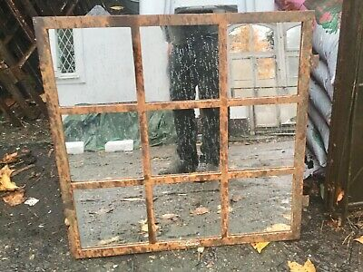 Vintage Cast  Iron Arched Industrial Metal Mirror Window  9 Pane Over mantle