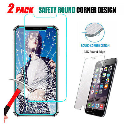 2-Pack For iPhone 11/Pro/Max/XS/XR/Max/8/7/6/6s+ Tempered Glass Screen protector
